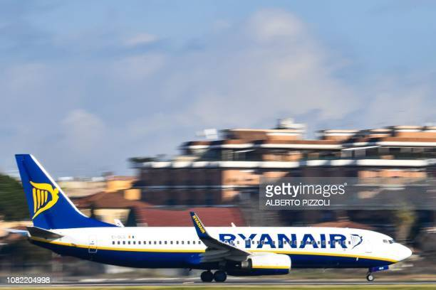 A Boeing 7378AS bearing the Ryanair Irish lowcost airline livery lands at Rome's Ciampino airport on January 14 2019
