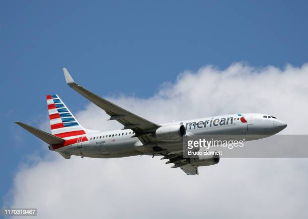 Boeing 737A23 operated by American Airlines takes off from JFK Airport on August 24 2019 in the Queens borough of New York City