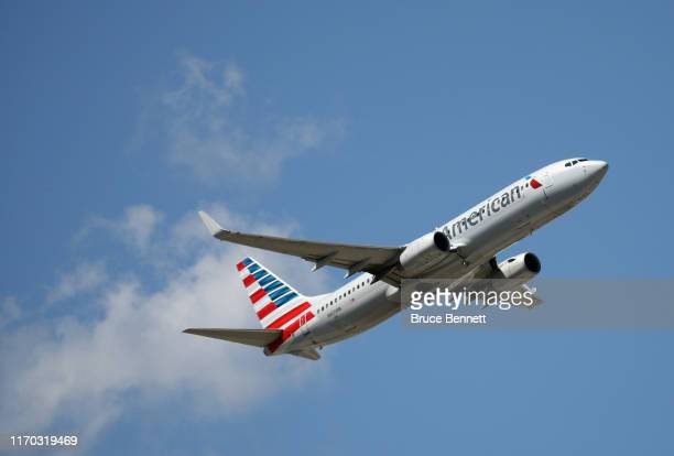 Boeing 737-A23 operated by American Airlines takes off from JFK Airport on August 24, 2019 in the Queens borough of New York City.