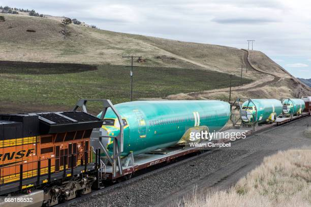 Boeing 737Next generation fuselages manufactured by Spirt AeroSystems in Wichita Kansas on a BSNF train heading to the Boeing assembly plant in...