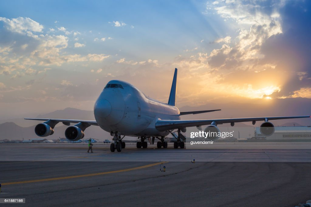 Boeing 747 Cargo Airplane at sunset : Stock Photo