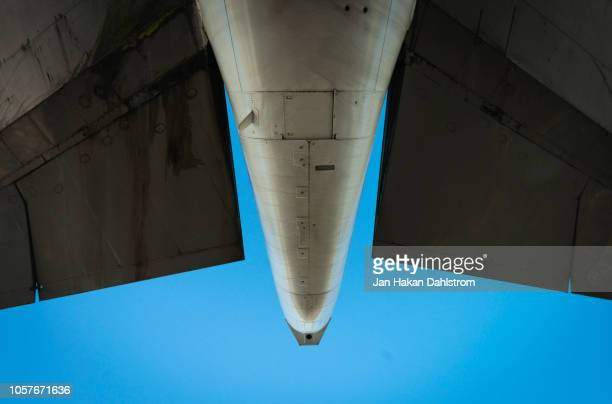 boeing 747 jumbo jet tail wings - airplane part stock photos and pictures