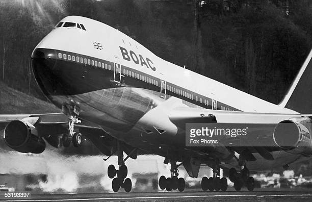 C Boeing 747 Jumbo jet takes off at Heathrow Airport London 7th April 1971 The aircraft have been due to begin their service to New York but have...