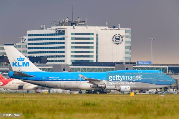Boeing 747 Jumbojet passing in front of the airfield buildings on June 18 near AmsterdamNetherlands After the COVID19 crisis KLM is starting their...