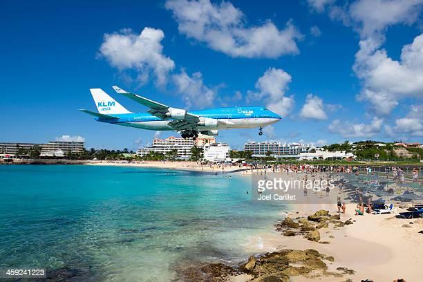 KLM Boeing 747 landing at Maho Beach, St Maarten