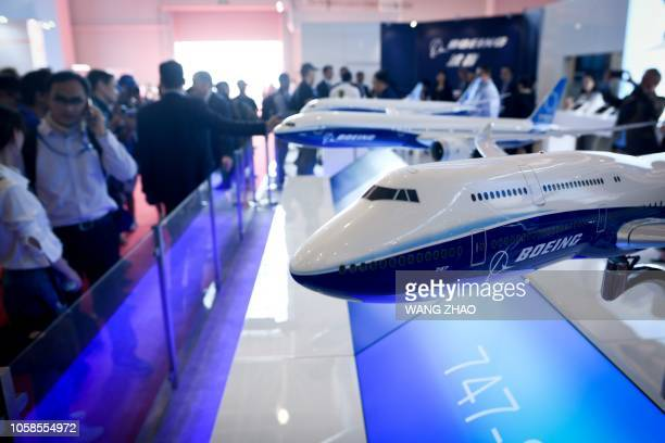 A Boeing 747 model is displayed at Airshow China 2018 in Zhuhai in southern China's Guangdong province on November 7 2018