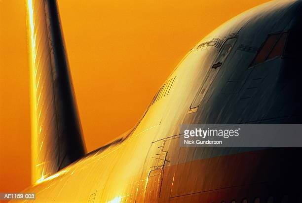 Boeing 747 passenger aircraft at sunset, close-up