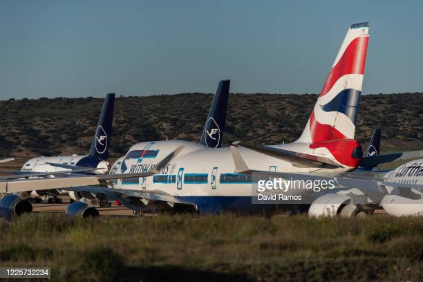 Boeing 747 Passenger aircraft operated by British Airways stands parked in a storage facility operated by TARMAC Aerosave at Teruel Airport on May...