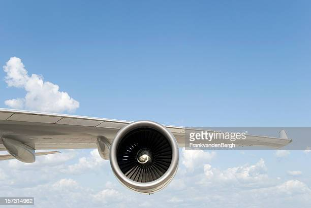 boeing 747 wing with engine - jet engine stock photos and pictures