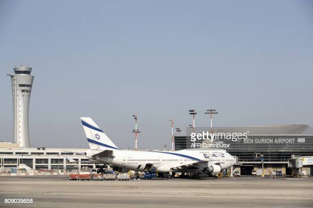 A Boeing 747400 from Israel's national carrier El Al is seen parked on the tarmac at Ben Gurion International airport on the outskirts of Tel Aviv on...