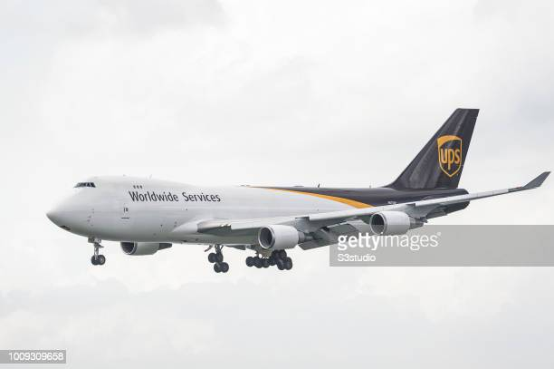 Boeing 74744A cargo plane belonging to the UPS Airlines lands at Hong Kong International Airport on August 01 2018 in Hong Kong Hong Kong