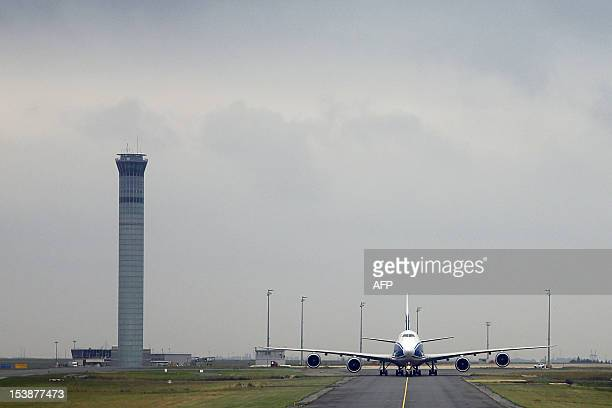 A Boeing 7478 Freighter cargo airplane from Russian company Air Bridge Cargo uses taxiways after landing at Paris Roissy Charles de Gaulle airport in...
