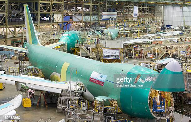 Boeing 7478 Freighter sits on the assembly line June 13 2012 at the Boeing Factory in Everett Washington