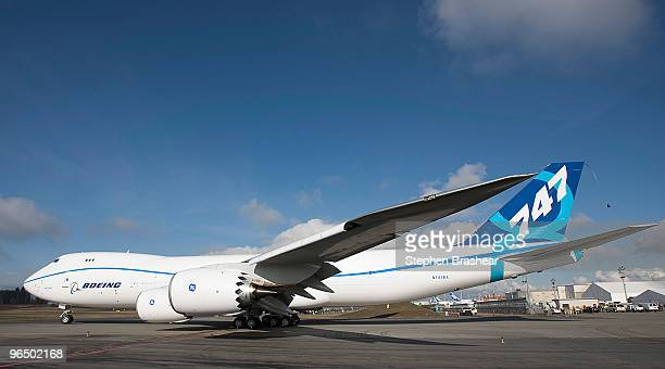 Boeing 7478 freighter taxis to the runway for its first test flight February 8 2009 at Paine Field in Everett Washington The 7478 is the largest...