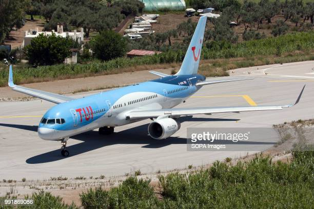 Boeing 757-200 making a back track at Skiathos airport full of British holidaymakers.
