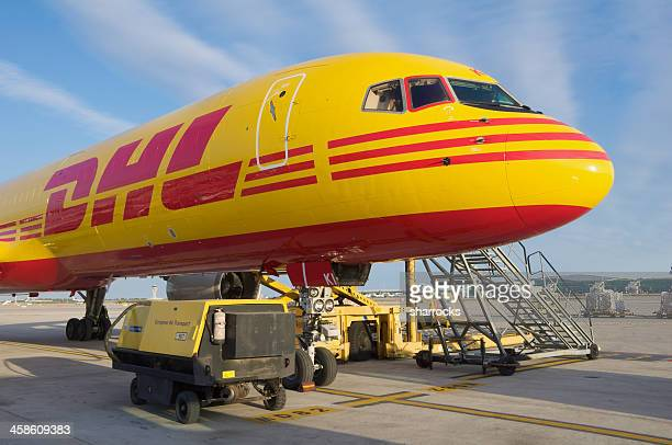 dhl boeing 757-200sf aircraft parked at barcelona airport - boeing 757 200 stock pictures, royalty-free photos & images