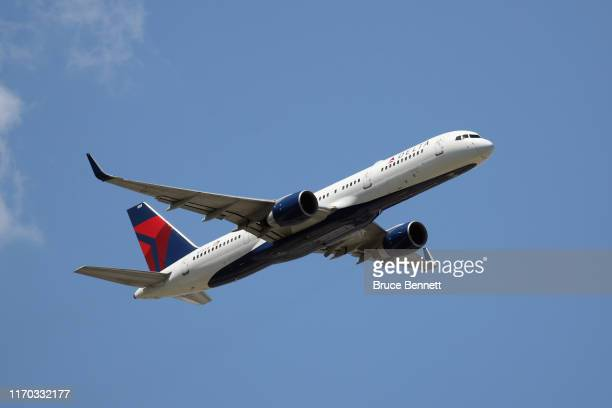 Boeing 757-2Q8 operated by Delta Airlines takes off from JFK Airport on August 24, 2019 in the Queens borough of New York City.