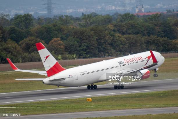 Boeing 767300ER during the Austrian Airlines at Airport Vienna on February 13 2020 in Schwechat Austria