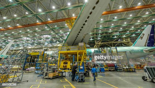Boeing 777 airliner sits on the production line on June 12 2017 in Everett Washington With the introduction of the 777X Boeing will use several...