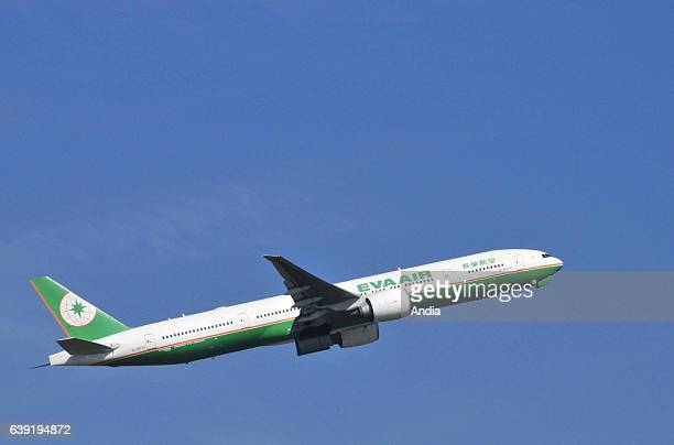 Boeing 777 belonging to Eva Air or Evergreen Airlines airline from Taiwan about to takeoff from Paris Charles de Gaulle Airport