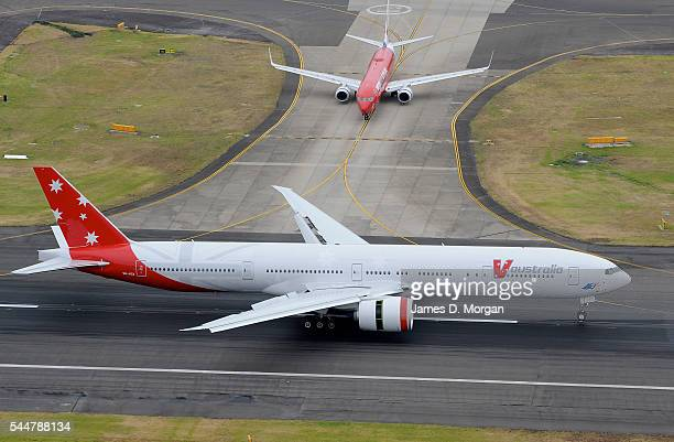 A boeing 777 from airline V Australia lands at the international terminal on February 09 2009 in Sydney Australia Australia's newest international...