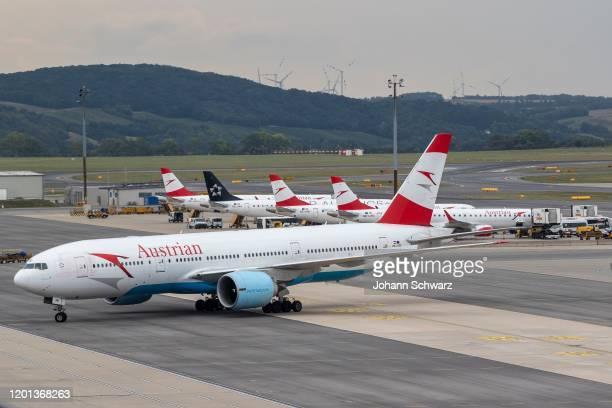 Boeing 777200ER during the Austrian Airlines at Airport Vienna on August 14 2018 in Schwechat Austria