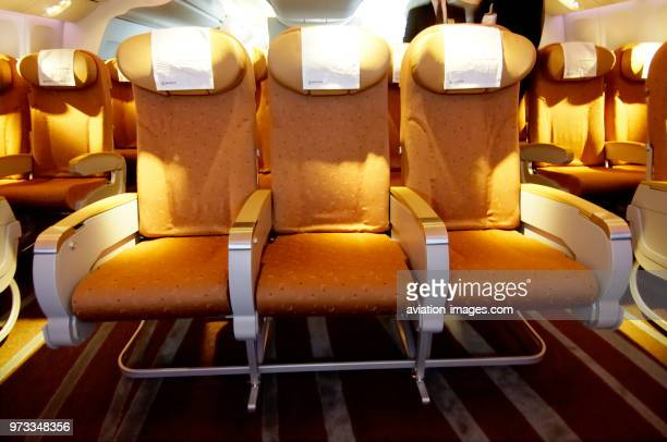 Boeing 777240LR 9 abreast seating in economyclass cabin at the 2005 Paris AirShow SalonduBourget
