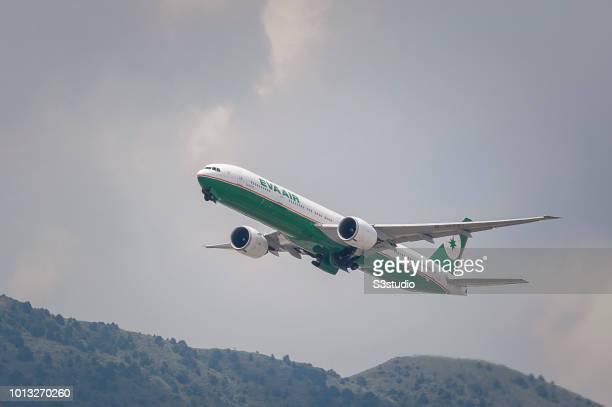 Boeing 77735E passenger plane belonging to the EVA Air taking off at Hong Kong International Airport on August 08 2018 in Hong Kong Hong Kong