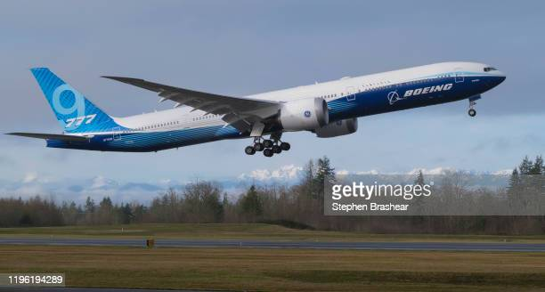 Boeing 777X airliner lifts off for its first flight at Paine Field on January 25, 2020 in Everett, Washington. The plane is the latest iteration of...