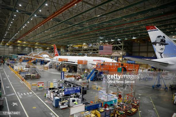 Boeing 787 airplane for Turkish Airlines is seen on the prodution line at a Boeing factory on November 20, 2019 in Washington, DC.