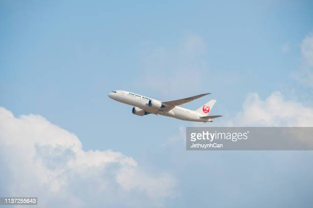 Boeing 787 Dreamliner aircraft of Japan Airlines taking off from Tan Son Nhat Airport in Ho Chi Minh City