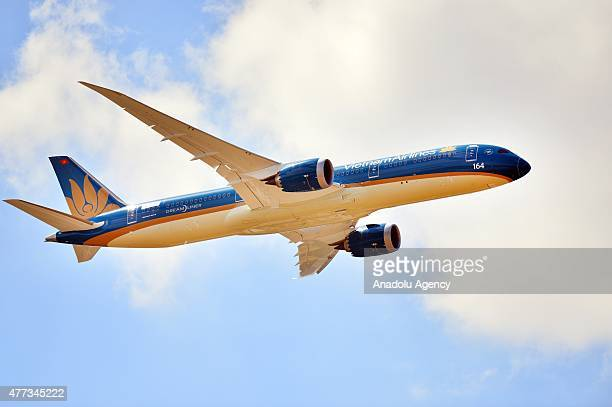 Boeing 787 Dreamliner aircraft prepares for an aerial display during the 51st International Paris Air Show at Le Bourget near Paris France on June 16...