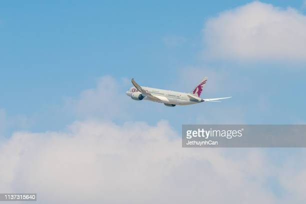 Boeing 787 Dreamliner airplane of Qatar airways taking off from Tan Son Nhat Airport in Ho Chi Minh City