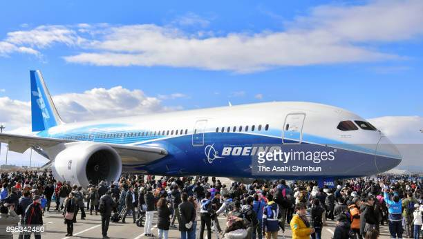 A Boeing 787 Dreamliner is towed on Dec 17 from a Chubu Airport tarmac to a commercial complex under construction at the airport on December 17 2017...