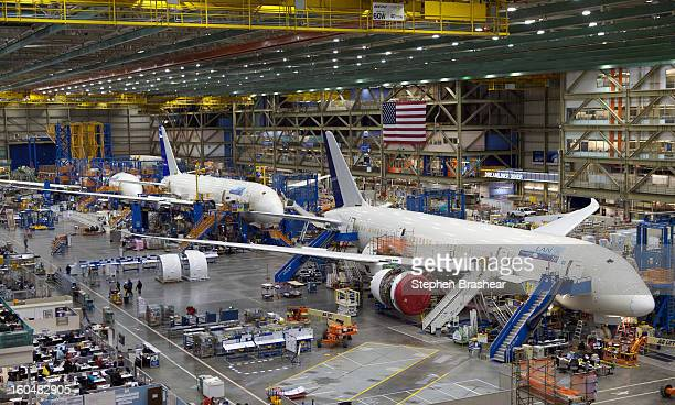 Boeing 787 Dreamliners sit on the assembly line is pictured June 13 2012 at the Boeing Factory in Everett Washington