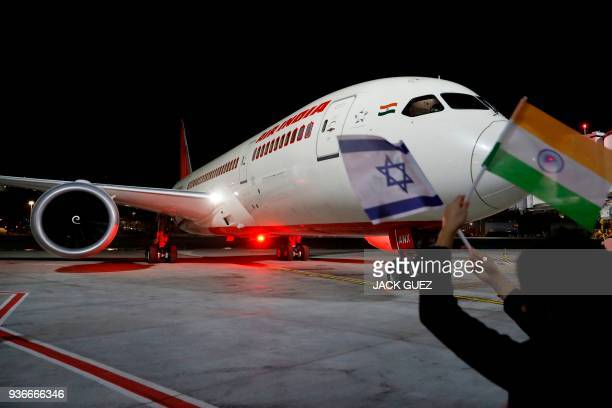 A Boeing 787 flight number AI139 of Indian national carrier Air India from New Delhi performs manoeuvres on the tarmac at Ben Gurion International...