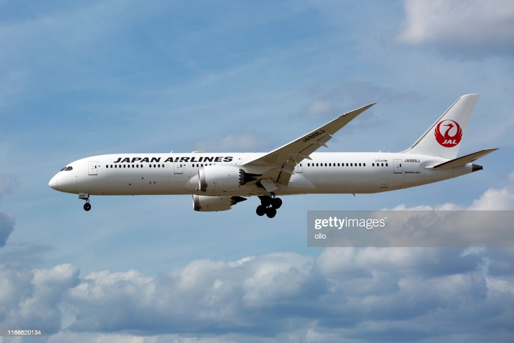 Boeing 787 of JAL, Japan Airlines approaching Frankfurt International Airport : Stock Photo