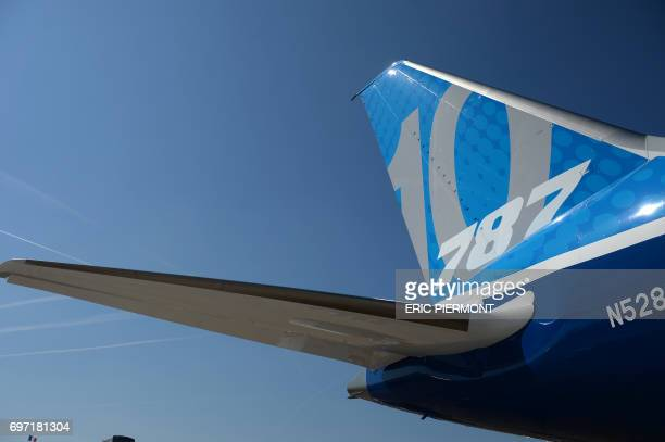 A Boeing 78710 Dreamliner test plane is presented on the Tarmac of Le Bourget on June 18 2017 on the eve of the opening of the International Paris...