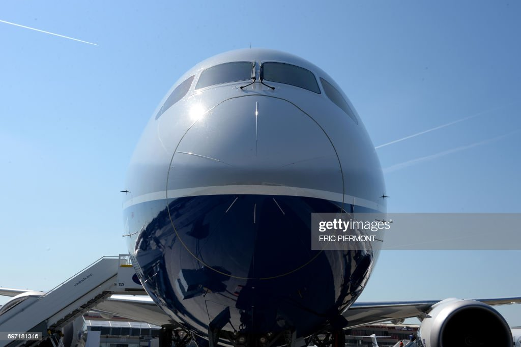 A Boeing 787-10 Dreamliner test plane is presented on the Tarmac of Le Bourget on June 18, 2017 on the eve of the opening of the International Paris Air Show. /