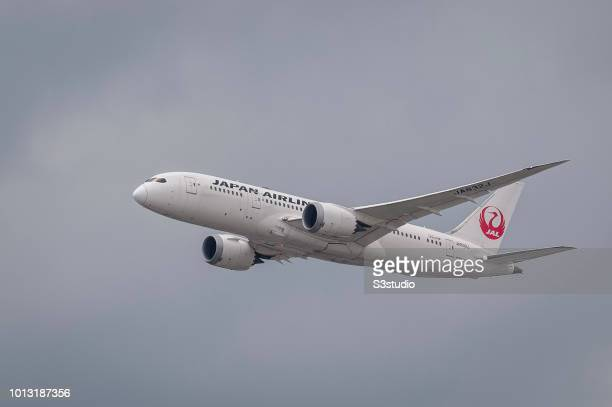 Boeing 7878 Dreamliner passenger plane belonging to the Japan Airlines taking off at Hong Kong International Airport on August 08 2018 in Hong Kong...