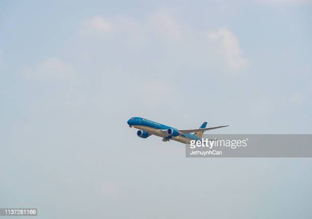 Boeing 787-9 Dreamliner airplane of Vietnam taking off from Tan Son Nhat Airport in Ho Chi Minh City