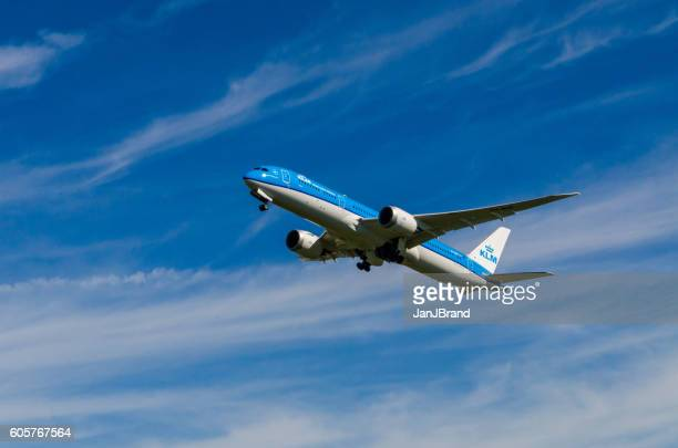 Boeing 787-9 Dreamliner of KLM taking off at Schiphol.