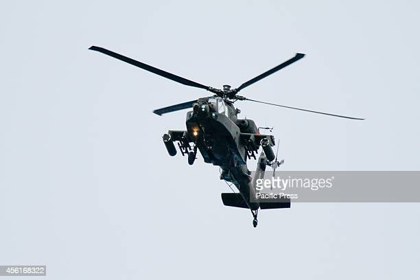 Boeing AH64 Apache attack helicopter from the Hellenic Army Aviation performs at the Palaio Faliro PreAir show The public displays of the Tatoi Air...