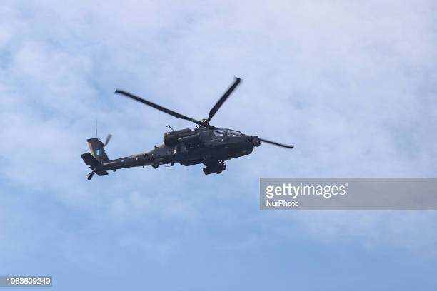 Boeing AH-64 Apache from the Hellenic Army in the air flying. Hellenic Army helicopters in formation AH-64D Apache Longbow Attack Helicopters...