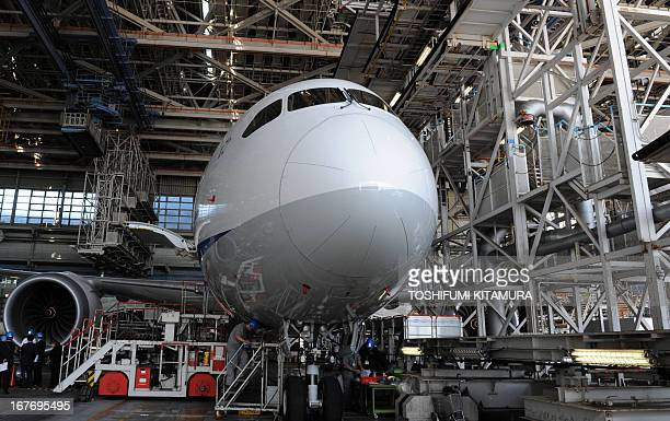 Boeing Aircraft On Ground team members work on All Nippon Airways Boeing 787 at the hanger after the dreamliner's test flight at the Haneda...