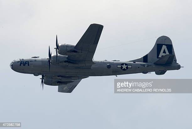 A Boeing B29 Superfortress flies over the National Mall during the Arsenal of Democracy a WWII plane flyover for the 70th anniversary of VE Day in...