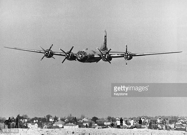 A US Boeing B29A Superfortress bomber arrives at Duxford airfield Cambridgeshire 3rd February 1980 The aircraft has been flown to Duxford from...