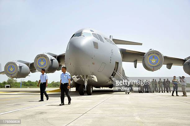 Boeing C17 Globemaster III heavylift transport aircrafts standing at Hindon Airbase during its induction into Indian Air Force on September 2 2013 in...