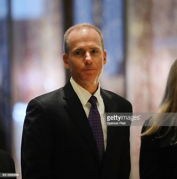Boeing CEO Dennis Muilenburg arrives at Trump Tower on January 17 2017 in New York City Pesidentelect Donald Trump continues to hold meetings at his...