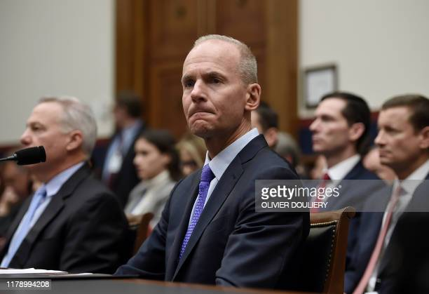 Boeing CEO Dennis Muilenburg arrives to testify at a hearing in front of congressional lawmakers on Capitol Hill in Washington, DC on October 30,...